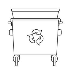 line art black and white garbage bin vector image