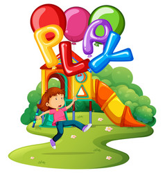 little girl and balloons in park vector image