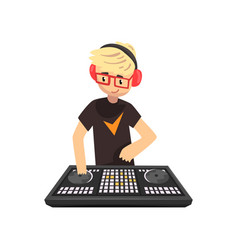 male dj mixing music on vinyl turntables young vector image