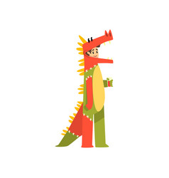 man in dinosaur costume funny person at carnival vector image