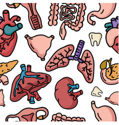 medicine human organs cartoon doodle icons vector image
