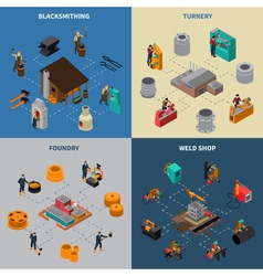 Metalworking 4 Isometric Icons Square Poster vector
