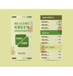 Organic green cafe menu concept Fresh vector image