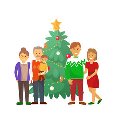 pine tree and family christmas holiday celebration vector image