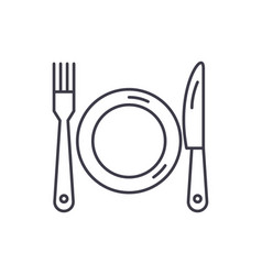 plate fork and knife line icon concept plate vector image