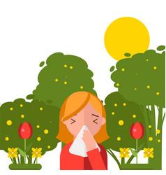 pollen allergy sneezing girl in spring nature vector image