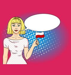 pop art happy young girl holding polish flag vector image