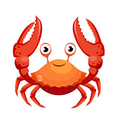 Red crab sea creature colorful cartoon character vector