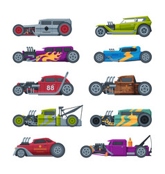 retro style race cars collection old sports vector image
