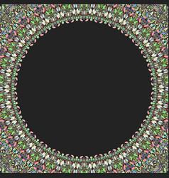 Round floral frame design - border graphic element vector
