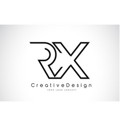 Rx r x letter logo design in black colors vector