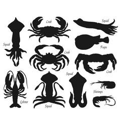 Sea animal fish seafood shellfish silhouettes vector