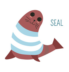 Seal in sweater childish cartoon book character vector