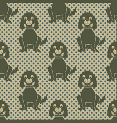 seamless pattern with a sitting dog and polka vector image