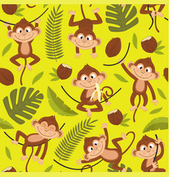 Seamless pattern with monkey on yellow background vector