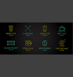 set coffee accessories icons with letter sign vector image