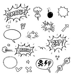 set hand drawn comic elements doodle comic vector image