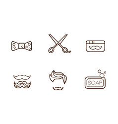 Set of linear barber shop icons bow-tie vector