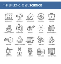 set of thin line flat icons science vector image