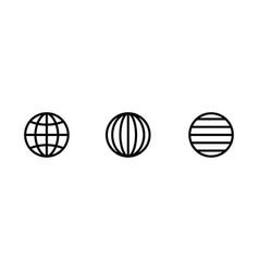 set three photo globe earth icons editable vector image