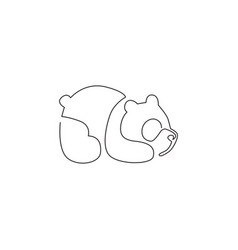Single continuous line drawing funny panda vector