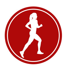 sports sign icon girl athlete vector image