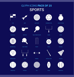Sports white icon over blue background 25 icon vector