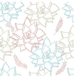 succulent hand drawn seamless pattern plants on vector image