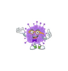 Super funny coronavirus influenza in nerd mascot vector