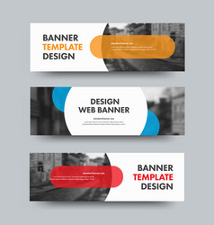 template horizontal web banners with round and vector image