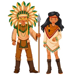 Two native american indians in costume vector image