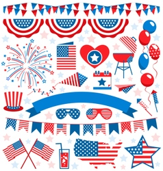 USA celebration flat national symbols set for vector
