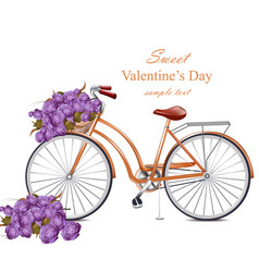 Valentines day card with bicycle and flowers vector