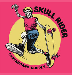 vintage drawing style skull playing skateboard vector image