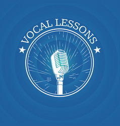 Vocal lessons logo with retro microphone on vector