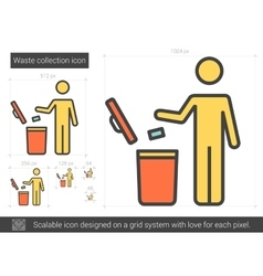 Waste collection line icon vector image