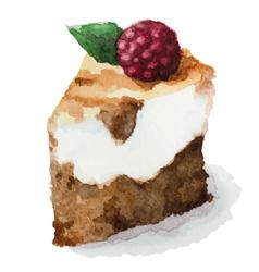 watercolor pie piece cake vector image