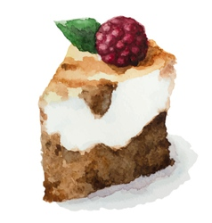 watercolor pie piece of cake vector image