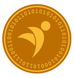 Winged man digital coin vector