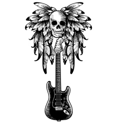Wings with skull guitar vector