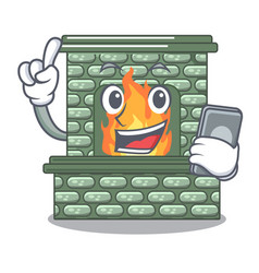 With phone character fireplace with red brick vector