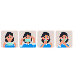 Woman with medical mask virus protection concept vector