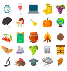autumn school icon set cartoon and flat style vector image