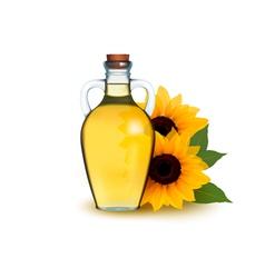 Bottle of sunflower oil with flower vector image vector image