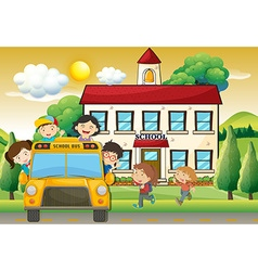 Children on schoolbus to school vector image vector image