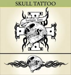 skull tattoo design vector image vector image