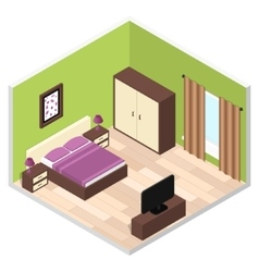 Bedroom Interior with Furniture vector image vector image