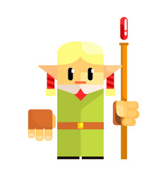 cartoon dwarf gnome wearind hat with a staff in vector image vector image