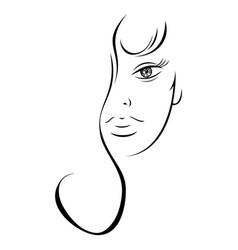 contour drawing sensual woman face vector image