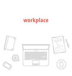 gray thin line workplace vector image